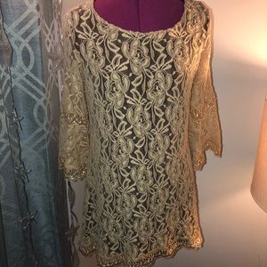 2/30.00Large L&B Lace Dress with Brown Underlining